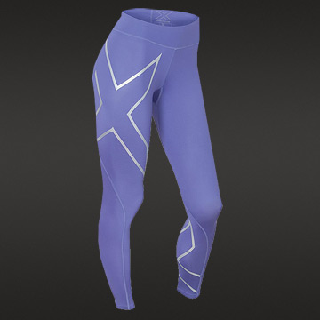 2XU Womens Mid Rise Compression Tights (Imperial Purple-Silver)