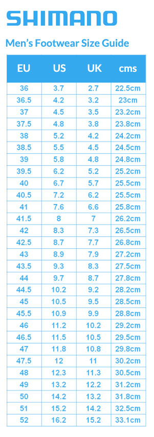 Shimano Mens Footwear Size Guide